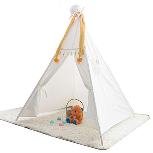 HWZPPP KJZhu White Indian Teepee with tassel decoration, Kids/Baby Playhouse dream Play tippee for toddlers - Fun Toy Hut Foldable (Color : White, Size : 120 * 120 * 160CM)