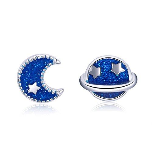 Pendientes de tuerca de plata de ley 925 con diseño de estrella de luna, hipoalergénicos, para niñas, color azul