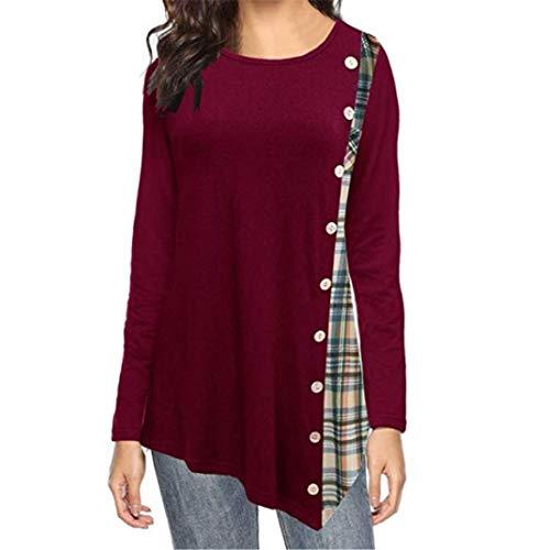 FIDOZ Women's Casual Long Sleeve Check Elegant Basic Tunic Tops Blouse Tees Shirts T-shirt for Spring Autumn Womens Crew Neck Buttons Patchwork Pleated Irregular Asymmetrical Hem Sweatshirt Jumper