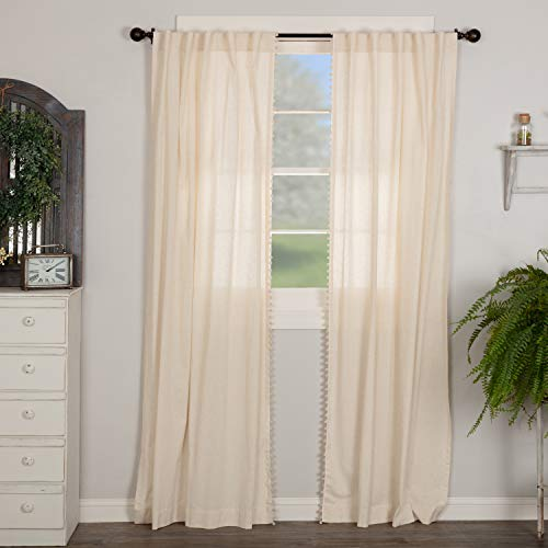 """Olivia Panel Curtains w/ Macrame Pompom Accents, Set of 2, 84"""" Long, Natural Cream Linen/Cotton Drapes, Boho, Modern Country, Vintage Cottage, Farmhouse Style"""