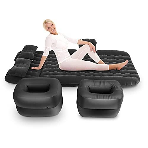 Colchón hinchable de coche, cama hinchable con 2 almohadas, soportes y bomba de aire, para viaje, camping, habitación...