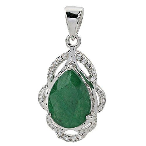 Harry Ivens Damen-Anhänger Kettenanhänger Sterling-Silber 925 rhodiniert Smaragd Weißtopas
