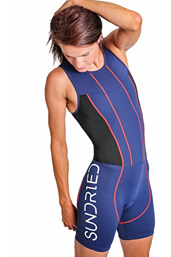 Sundried Womens Premium Padded Triathlon Tri Suit Compression Duathlon Running Swimming Cycling Skin Suit (Medium)