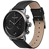Nordgreen Pioneer Men's Chronograph Watch Scandinavian Gun Metal 42mm with Black Dial and Black Leather Strap 14001