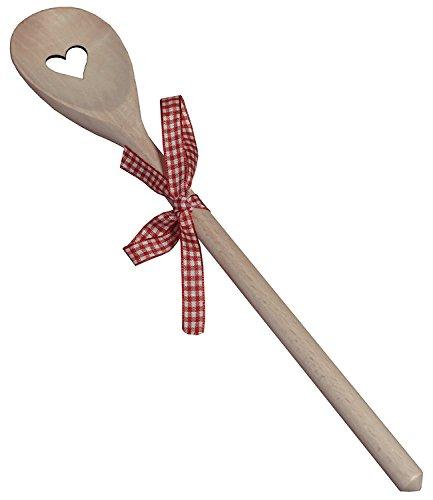 Kaltner Präsente Geschenkidee - Kochlöffel Holzlöffel Löffel aus Holz Buche Motiv Herz und Schleife