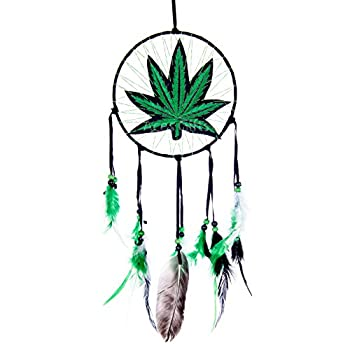 Aces Gifts Marijuana Leaf Pot Weed Embroidered Dream Catcher  16 Inches Long