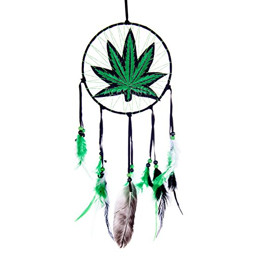 Aces Gifts Marijuana Leaf Pot Weed Embroidered Dream Catcher (16 Inches Long)