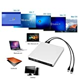 Bluray Externe Lecteur DVD 3D 4K, USB 3.0 Graveur Blu-Ray Portable CD DVD Row Writer pour Mac Os, Windows, PC
