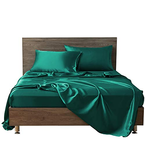 MR&HM Satin Bed Sheets, Queen Size Sheets Set, 4 Pcs Silky Bedding Set with 15 Inches Deep Pocket for Mattress (Queen, Teal)