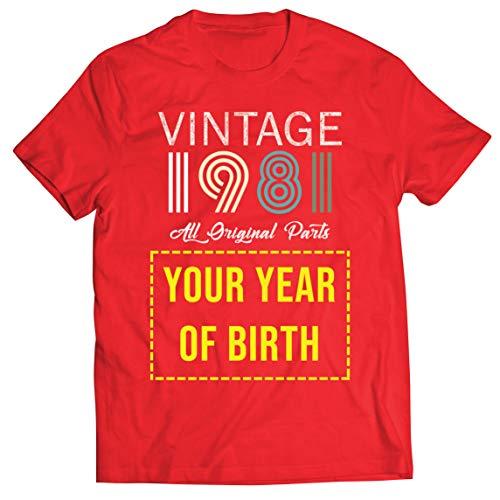 lepni.me Camisetas Hombre Personalizado con Cualquier Año Regalo Vintage Todas Las Piezas Originales (Medium Rojo Multicolor)