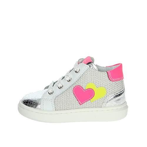 Nero Giardini E021340F Sneakers Kids da Bambina in Pelle E Tela - Argento 26 EU