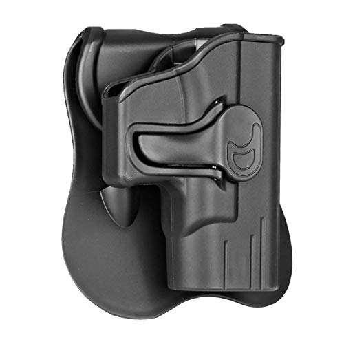 powerful Springfield Armory XD-S 3.3 inch OWB holster, outer belt paddle carrying holster, Springfield Armory XD-S 3.3 inch, 9mm / 40SW / 45ACP compatible, right resin holster – black