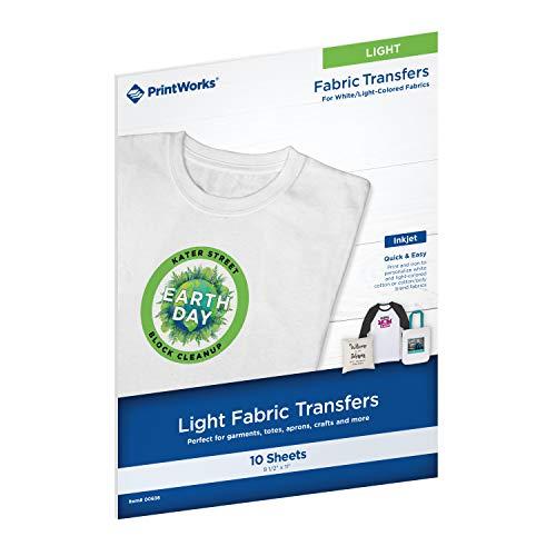 Printworks 00480 - Transferencia de camiseta blanca para impresoras de inyección de tinta, para uso...