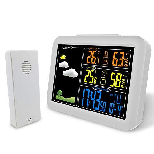 WYZQ Estación meteorológica inalámbrica, Reloj Despertador de la estación meteorológica con Pantalla a Color y alertas de Temperatura, con Sensor inalámbrico para Interiores y Exteriores, Relojes