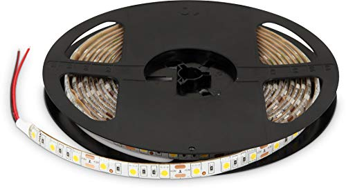 (4,98 €/m) 5 m 300 x 5050 SMD LED Stripe IP65 12 V intensité variable – 72 W 3600LM – 60SMD/M – Autocollant – 10 mm – Blanc chaud (3000 K)