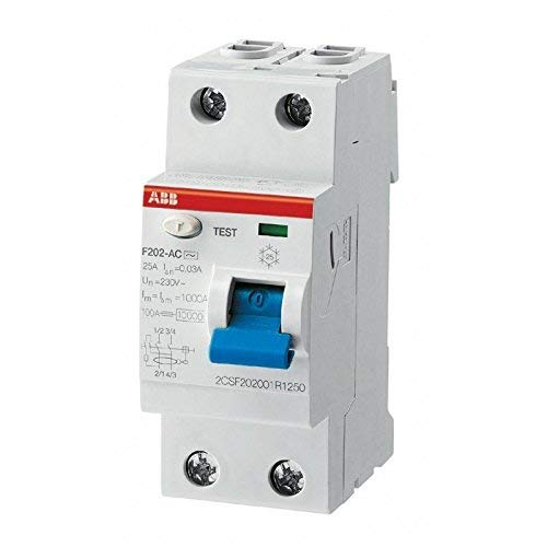 ABB F427800 - F202 Interruttore differenziale puro 2 moduli 2P 25A 30ma AC (salvavita) attacco DIN