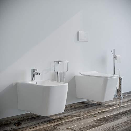 Sanitari bagno filomuro SOSPESI Bidet e Vaso WC in ceramica con sedile coprivaso softclose. SQUARE