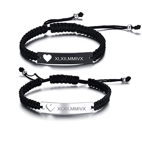 MEALGUET Personalized Stainless Steel and Braided Rope Adjustable Hollow Heart Couples Bracelet Distance Matching Bracelets for him and her