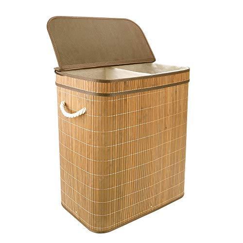 Vesgantti 100 l bambusowy kosz na pranie z klapką - duży składany kosz na ubrania kosz na pranie składany składany pojemnik na sortowanie na pranie z 2 przegródkami - światła i ciemności (60 x 51 x 32 cm)