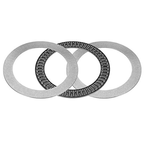 uxcell AXK100135+2AS Needle Roller Thrust Bearings with 2 Washers, 100mm Inner Diameter, 135mm OD, 6mm of Thickness, GCr15 Hardness