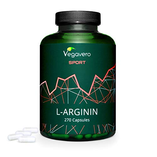 ARGININA Vegavero® Sport | 700 mg per capsula | SENZA ADDITIVI | 270 capsule per 3 MESI | PURA al 99{2784f631a995097e7b21750c11a8bc8aa56c7999818ce81e8c19ece90a15f80e} | Vegan