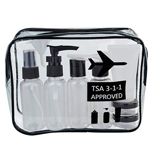 Wobe Travel Bottles and TSA Approved Toiletry Bag, Clear Quart Size with Leak-Proof Travel Containers Set Makeup Bag Accessories for Liquids Carry-On Luggage Compliant for Airplaine