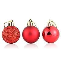 クリスマス ボール 24個 セット 【全11色】 クリスマスツリー デコレーションボール オーナメント ゴールド シルバー クリスマス 飾りディスプレイ 球形 吊るす 大粒でツリーに映えるオーナメント 凍える装飾 お洒落 かわいい christmas Xmas (レッド, 6cm)