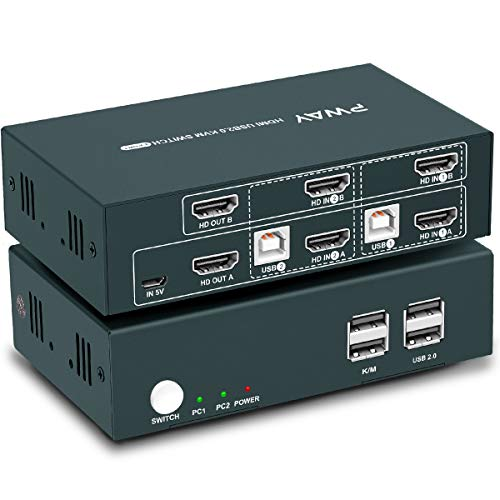 GHT HDMI KVM Switch Dual Monitor 2 Port Extended Display 4K, 2 USB 2.0,4K@30Hz,KVM Doppel Monitor,YUV4:4:4,Ultra HD,Hotkey Switch, HDMI Umschalter, Stromversorgung über USB