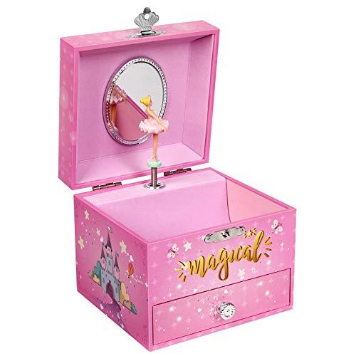 SONGMICS Joyero Musical pequeño, Caja de Joyas, Tema de Unicornio, con Bailarina, Cajón, Espejo, Caja de música para niñas, Rosa, JMC008PK