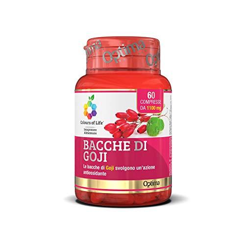 Colours of Life Bacche di Goji - Integratore di Bacche di Goji - Antiossidante, Contrasta l'Invecchiamento Cellulare, Stimola la Risposta del Sistema Immunitario - Senza Glutine e Vegano, 60 Compresse
