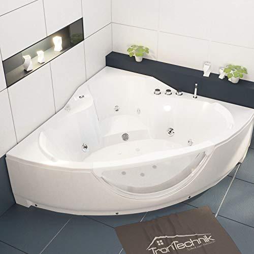 Tronitechnik Whirlpool Badewanne Santorini weiß 150cm x 150cm mit Heizung, Hydromassage und Farblichtherapie