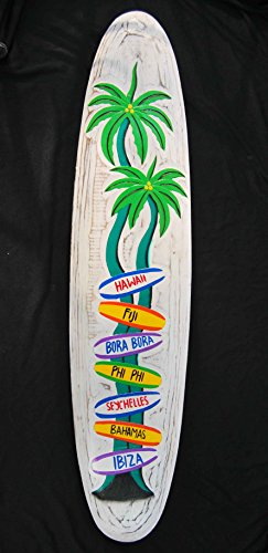 Diferentes señales Cartel de madera en tabla de surf Style Cartel Surf Lounge Style Hawaii Bahamas PHI PHI Ibiza