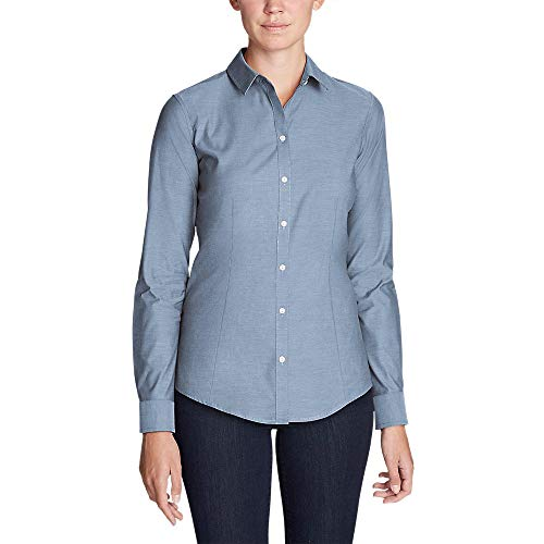Eddie Bauer Women's Wrinkle-Free Long-Sleeve Shirt - Solid, Chambry Tall L Tall