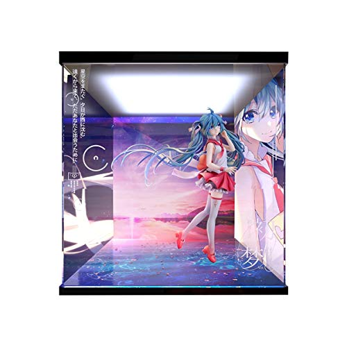 Hatsune Miku Miku First SUEÑO Ver BAJO DE Pantalla DE Pantalla LED LED Mano Hecho a Mano PVC Figura Modelo Caja de visualización (Color : Up and Down Light, Size : B)