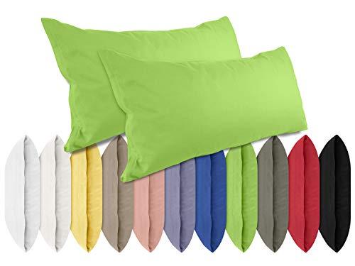 npluseins Renforcé-Kissenbezüge im Doppelpack - 100% Baumwolle – schlicht und edel im Design, in 11 Uni-Farben, 40 x 80 cm, grün