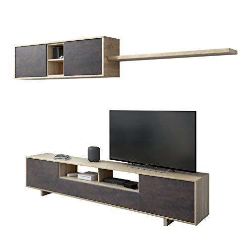 Habitdesign - Mueble de salón Moderno, modulos Comedor Belus, Medidas: 200 cm x 41 cm de Profundidad (Roble Canadian - Oxido)