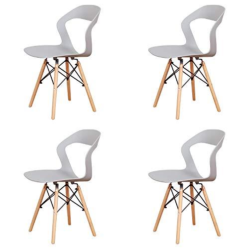 Silla hueca de estilo nórdico con respaldo, estructura de metal fuerte, limpia y transpirable, para uso en comedor, jardín, cocina