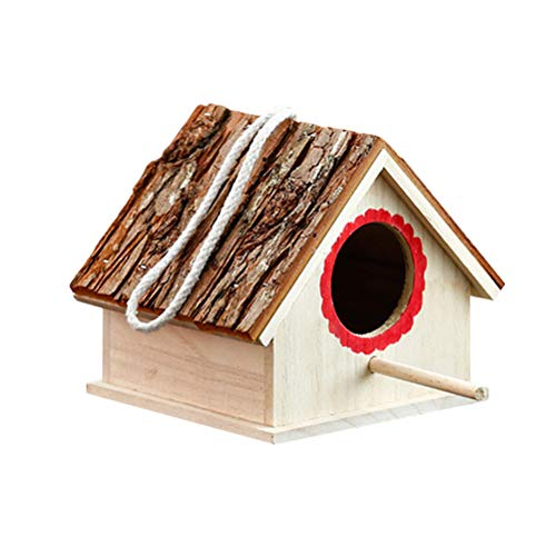 POPETPOP Pajarera Creativa de Madera en Forma Casa para Pájaros y Decoración...
