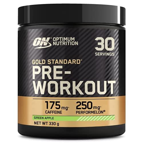 Optimum Nutrition ON Gold Standard Pre Workout Energy Drink Pulver mit Kreatin Monohydrat, Beta Alanin, L-Carnitin, natürliches Koffein und Vitamin B Komplex, Green Apple, 30 Portionen, 330g, 1102162