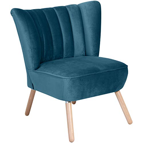 Max Winzer® Sessel Alessandro, petrol (blau), Samtvelours, Retro, 70 x 66 x 80 cm