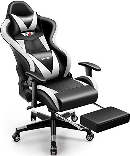 PatioMage Gaming Chair with Footrest Ergonomic Office Chair Headrest Lumbar Support Comfortable Large Size High Back Adjustable Reclining Computer Desk Chair PU Leather Swivel Chair