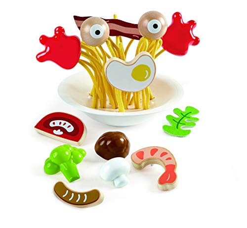 Hape Silly Spaghetti |13 Piece Wooden Spaghetti Fidget Toy, Colorful Pretend Play Cooking Set for...