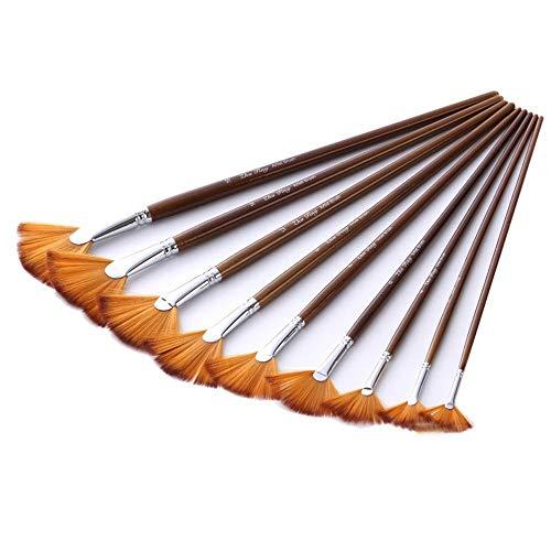 Set De Pinceles En abanico Acuarela Oleo Acrílico Gouache Pintura Pincel de cola de pescado de madera con forma de ventilador de nylon cepillo de pelo Set 9 piezas Para La Pintura De Bellas Artes