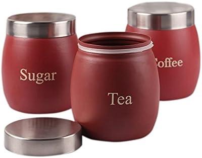 Dynore Maroon Barrel Tea, Coffee & Sugar Canister