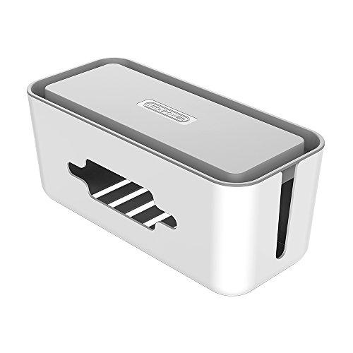 NTONPOWER Kabelbox Groß Schreibtisch-Organizer ABS Kunststoff Kabelmanagement mit Anti Rutsch Boden für Steckdosenleiste Kabel Aufbewahrungsbox Verstecken,31x13.8x13.1cm- Grau Organizer, MEHRWEG