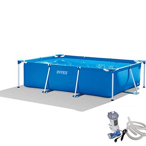 Adulto Familia piscina grande rectangular de soporte de PVC piscina infantil jardín al aire libre Piscina for niños piscinas infantiles de seguridad resistente Ajuste estanque de pesca, Blue-Pequeño,
