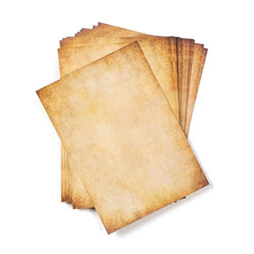 50 hojas DIN A5 Papel vintage pergamino pequeño, 110g/m², 148x210 mm, aspecto Antiguo envejecido, Doble cara, para Escribir y imprimir, Manualidades, recortes, scrapbook
