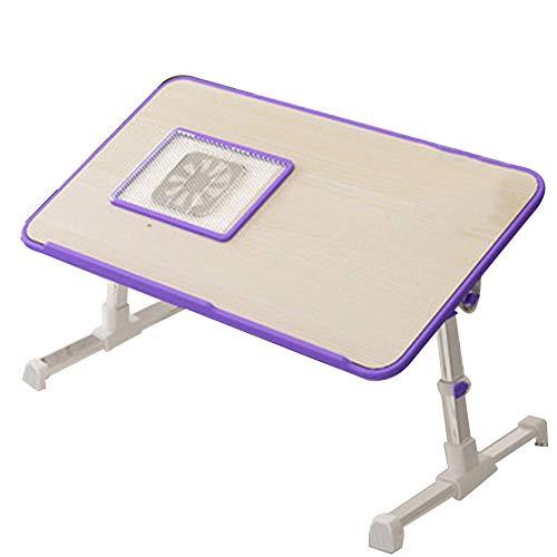 NYDZ Table d'ordinateur Portable Plateau de Petit déjeuner Plateau pour lit Pliable et réglable Table de réunion Multifonction (Color : Purple)