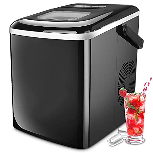 Ice Maker Countertop, Ice Maker Machine Self Cleaning, Portable Ice Cube Makers with Scoop Basket,9 Bullet Ice Cubes Ready in 7~15 Minutes, Home Kitchen Office Bar Party (Black)