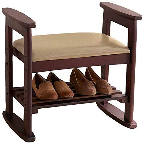DSDD Banco de Almacenamiento Zapatos con cojín de Asiento - Banco de recibidor con reposapiés - Zapatero de Madera - Taburete de Madera para Zapatos Taburete con Taburete acol